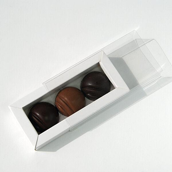Sleeve box for 3 chocolates