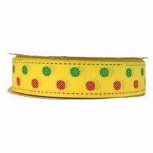 rb07 Polka dot Yellow Grosgrain Ribbon