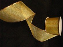 r747 Wired Gold Sheer Ribbon 2.5in