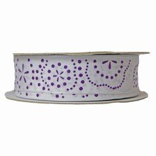 Purple and white floral print ribbon (1in)