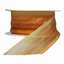 r40 Sheer Copper Tones Striped Ribbon