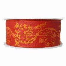 r62 Ruban rouge imprimé 'paisley'