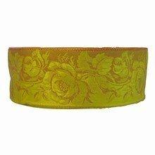 r66 Ruban chartreuse imprimé floral victorien