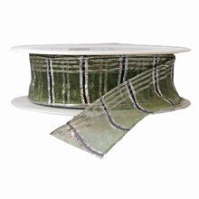 Ruban semi-transparent vert forêt et argent métallique (25mm)