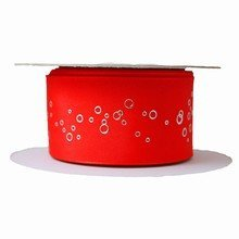 r45 Red Ribbon with Metallic Silver Bubbles