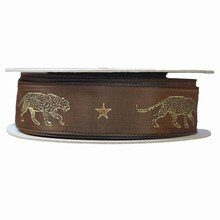 r56 Brown Ribbon with Gold Panther Print
