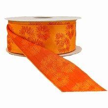 Reversible orange ribbon with fuschia stylized flowers (1.5in)