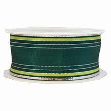 r107 Silver, Lime and Forest Green Striped Ribbon