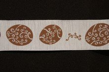 r592 Cream Ribbon with Brown Easter Eggs