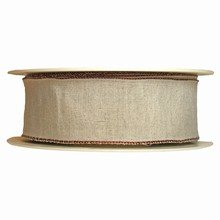 r131 Linen Finish Ribbon with Brown Border