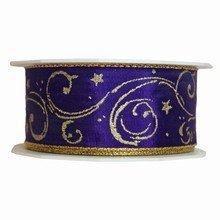r993 Purple Ribbon with Gold Print