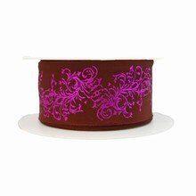 r160 Brown Ribbon with Metallic Purple Motif
