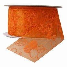 r582 Ruban orange motif abricot
