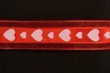 VA20 Valentine Ribbon White Hearts on Red