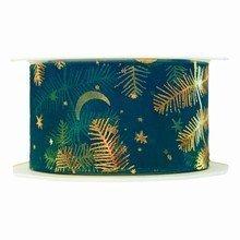 Sheer forest green ribbon with golden fir motif (1.5in)