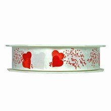 Polypropylene ribbon with red hearts on white