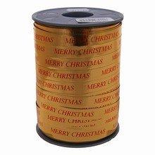 Ruban bolduc or métallique 'Merry Christmas' en rouge