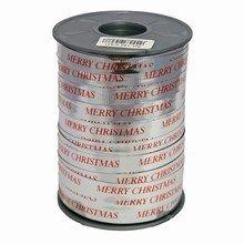 Ruban bolduc argent métallique 'Merry Christmas' en rouge
