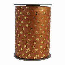 Bolduc ribbon gold star motif on coffee color bicolour