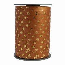 Ruban bolduc bicolore motif étoiles or sur couleur café au lait réversible