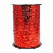 RB612 'Joyeuses Fêtes' Curling Ribbon on Metallic Red