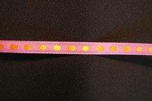 r692 Pink Ribbon with Orange Dots