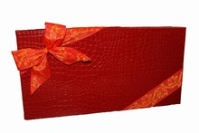 Boîte rigide illusion croco rouge, 32ct