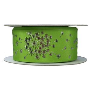 Green Ribbon with Silver Dandelion Print