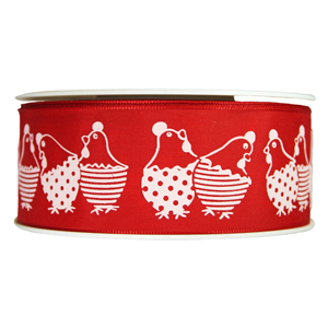 Red ribbon with white hen print, 1.5in