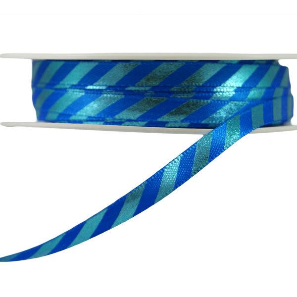 Ruban à rayures diagonals bleu sur bleu fini brillant