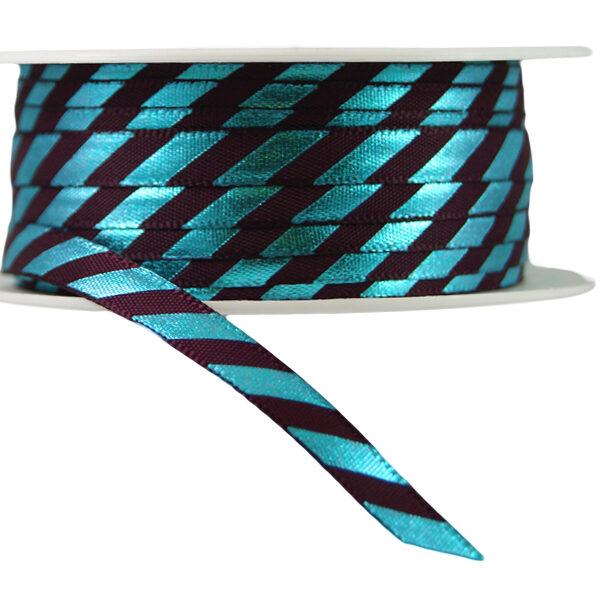 Ruban à rayures diagonals bleu et marron fini brillant