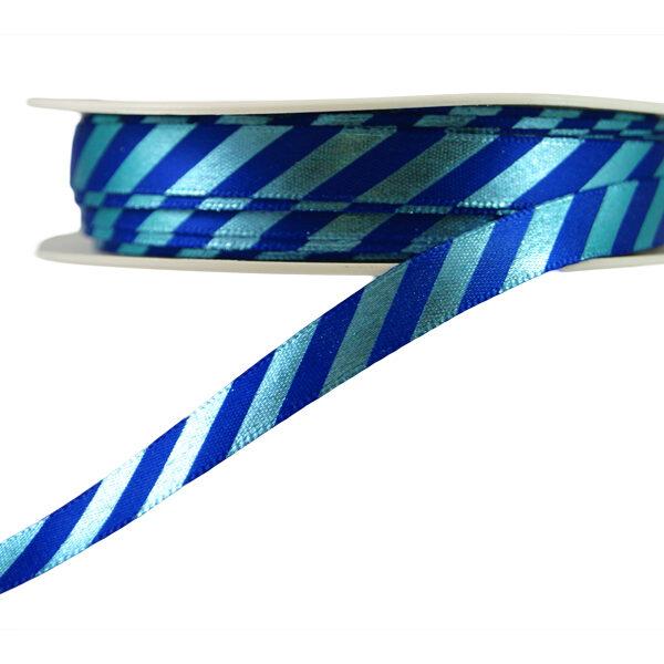 Ruban à rayures diagonales bleu fini brillant