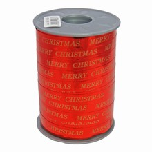 "Ruban bolduc rouge métallique ""Merry Christmas"" en or"