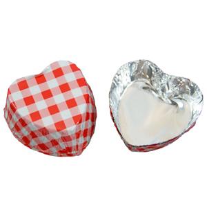 Caissettes métalliques coeur vichy rouge (200u.)