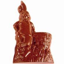 Moule chocolat double lapin appuyé sur panier