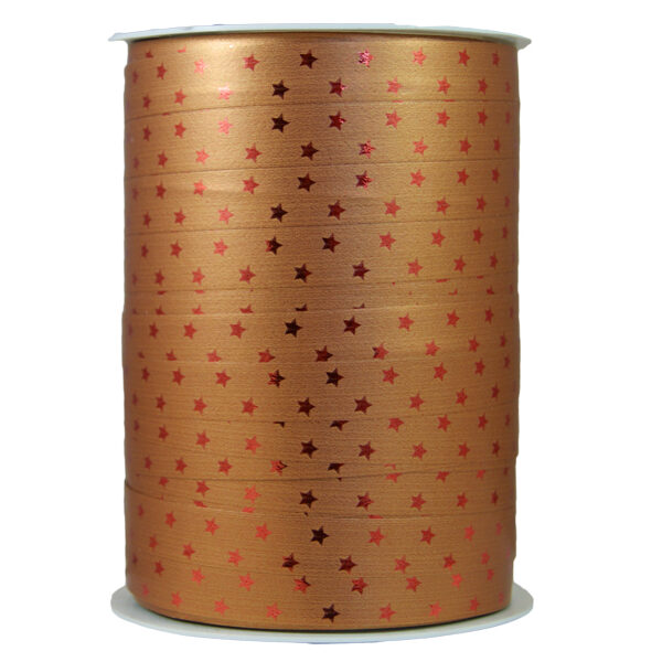 Ruban bolduc étoiles bronze métallique