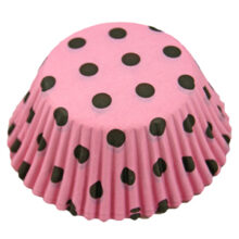 Brown polka dots on pink cupcake liners
