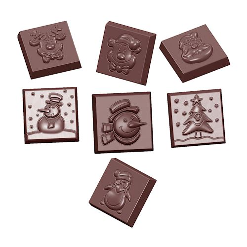 Assorted Christmas Squares Chocolate Mold