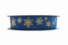 Ruban satin flocons sur bleu royal (25mm)