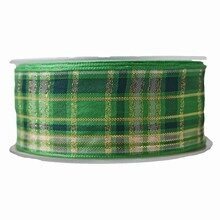 Green ribbon with gold plaid (1.4in)
