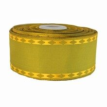 Organic Green Ribbon with Gold Trim (1.5in)