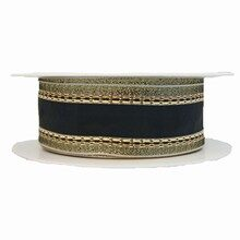 Black ribbon with glimmering gold border (1.5in)