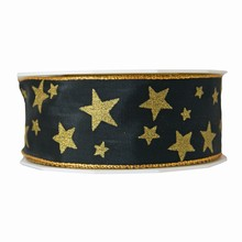 Black Ribbon with Gold Stars (1.5in)