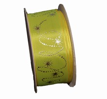 Chartreuse ribbon with metallic platinum shooting stars (1.5in)