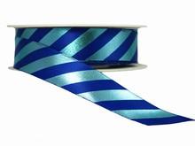 Ruban à rayures diagonales bleu fini brillant (25mm)