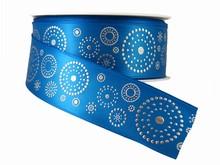 Ruban bleu avec cercles en points argentés (40mm)