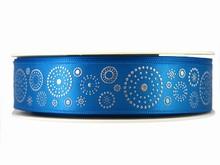 Ruban bleu avec cercles en points argentés (25mm)