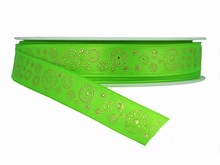 Green Ribbon with Gold Dotted Circles