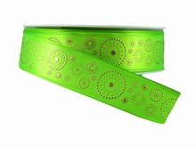 Green Ribbon with Gold Dotted Circles (1in)
