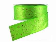 Green Ribbon with Gold Dotted Circles (1.5in)